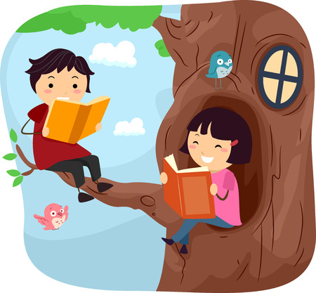 tree house: Stickman Illustration of Kids Reading Books in a Tree House Stock Photo
