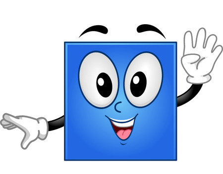 shapes cartoon: Mascot Illustration of a Square Showing Four Fingers