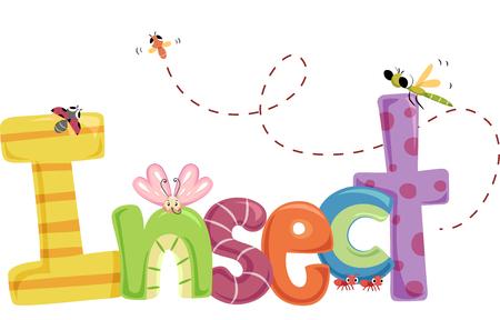 insecto: Tipografía Ilustración con coloridos insectos