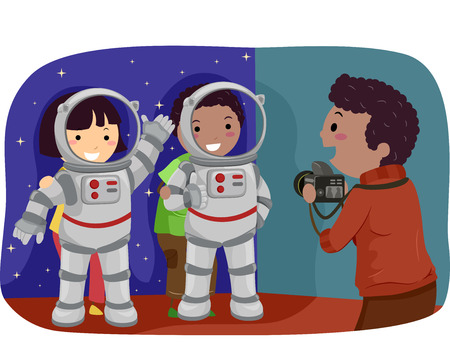 man illustration: Stickman Illustration of Kids Trying Out Astronaut Standees