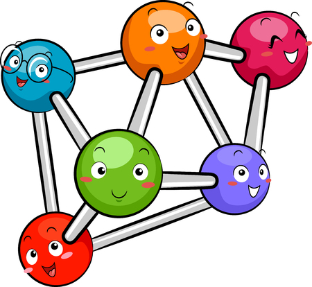 nuclei: Mascot Illustration Featuring a Group of Atoms