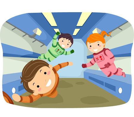 gravity: Ilustraci�n stickman de ni�os jugando en la gravedad cero