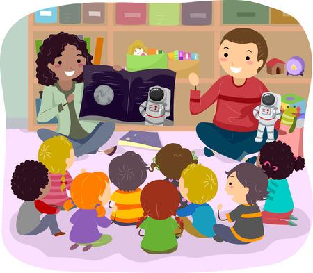 schooler: Stickman Illustration of Teachers Teaching Astronomy to Kids Stock Photo