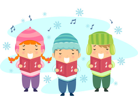 carols: Stickman Illustration Featuring Kids Singing Christmas Carols