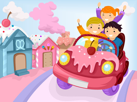 man illustration: Stickman Illustration of Kids Driving Around a Town Covered with Candy Stock Photo