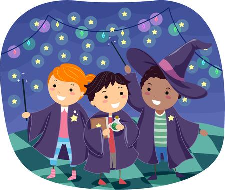 Stickman Illustration of Boys Wearing Wizard Costumes Stock Photo