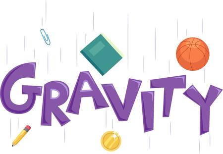gravedad: Ilustración que muestra la gravedad de la tipografía Foto de archivo