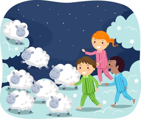 pyjama: Stickman Illustration of Kids in Pajamas Chasing After Sheep