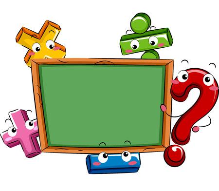 mathematical: Mascot Illustration Featuring Mathematical Symbols