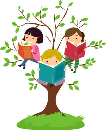 children art: Stickman Illustration of Kids Reading Books While Sitting on Tree Branches