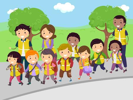 commute: Stickman Illustration of Volunteer Parents Taking Kids on a Walking Bus Trip Stock Photo