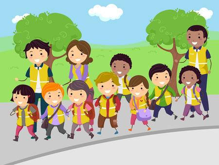 Stickman Illustration of Volunteer Parents Taking Kids on a Walking Bus Trip Stock Photo