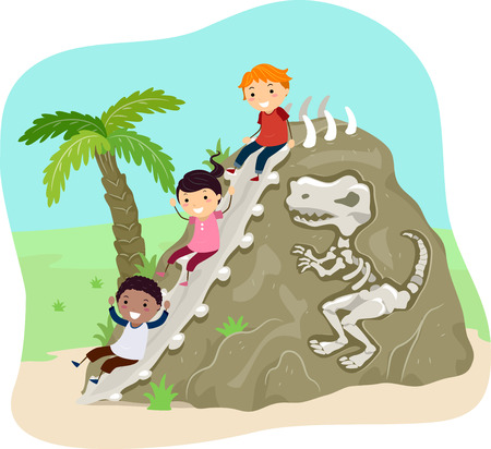 embedded: Stickman Illustration of Kids Sliding Down a Rock  Embedded on It
