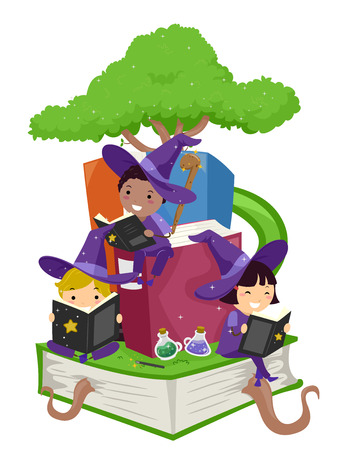 wizardry: Stickman Illustration of Kids Reading Wizardry Books Stock Photo