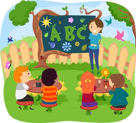 Stickman Illustration of Kids Having Their Class in the Garden Stock Photo