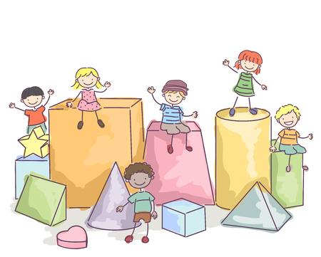 forme: Illustration Stickman des enfants assis sur les blocs Banque d'images