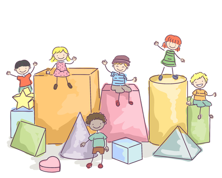 stickman: Stickman Illustration of Kids Sitting on Blocks Stock Photo