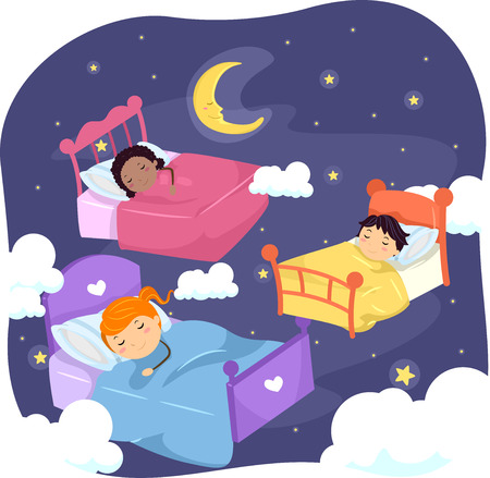 grade schooler: Stickman Illustration of Sleeping Kids Surrounded by Stars