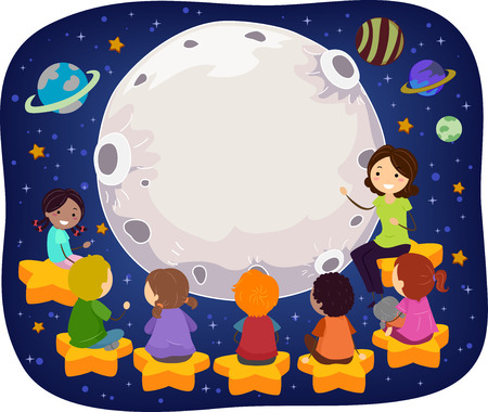 Stickman Illustration of a Teacher Teaching Kids in Space Фото со стока - 56461897