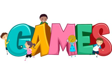 grade schooler: Stickman Illustration of Kids Playing Games