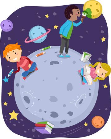 バッター星と遊ぶ子供のイラスト