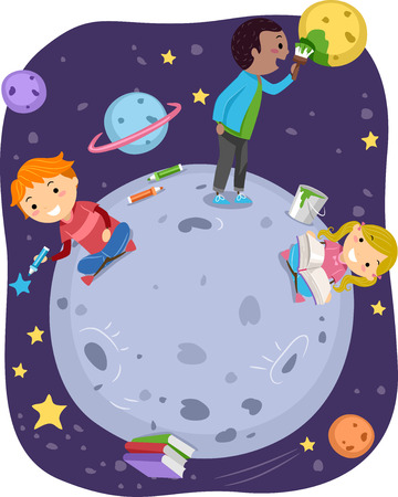 man illustration: Stickman Illustration of Kids Playing with Stars