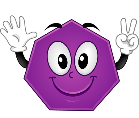 heptagon: Mascot Illustration Featuring a Heptagon Showing Seven Fingers Stock Photo