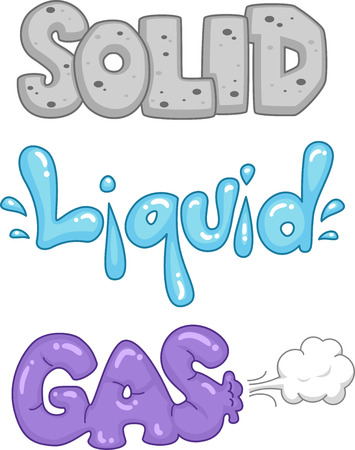state: Typography Illustration Depicting the Different States of Matter