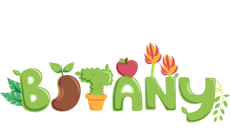 sprouting: Typography Illustration Featuring Different Fruits and Vegetables