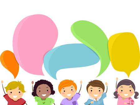 grade schooler: Stickman Illustration of Kids with Speech Bubbles Hovering Over Their Heads Stock Photo