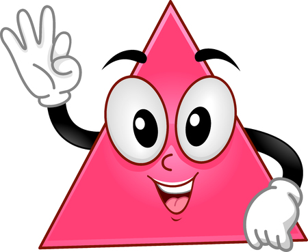 shapes cartoon: Mascot Illustration of a Triangle Showing Three Fingers Stock Photo