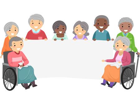 nursing home: Stickman Illustration of Senior Citizens Holding a Banner