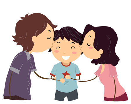 smooch: Stickman Illustration of Husband and Wife Kissing Their Son Stock Photo
