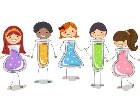 erlenmeyer: Stickman Illustration of Kids Shaped Like Test Tubes