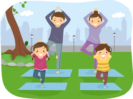 family park: Stickman Illustration of a Family Doing Yoga Together Stock Photo