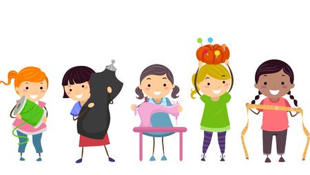 kit de costura: Ilustración stickman de niños que transporten materiales de costura