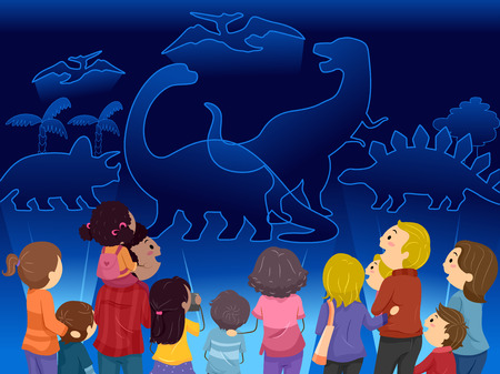 man illustration: Stickman Illustration of Families Watching Dinosaur Holograms