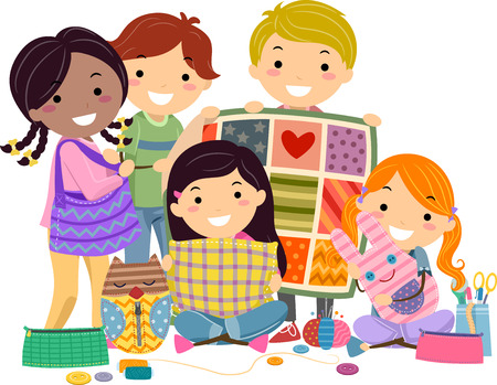 hobbies: Stickman Illustration of Kids Presenting the Things They Sew