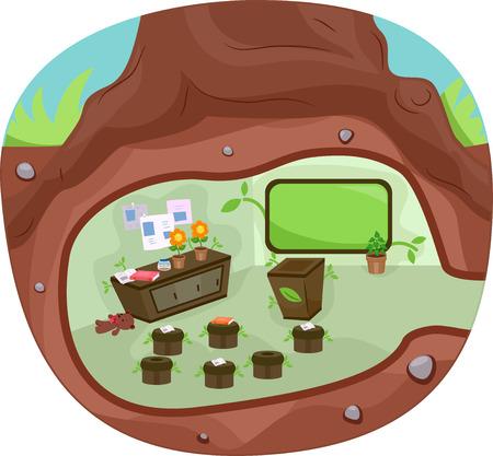 underground: Illustration of an Underground Classroom