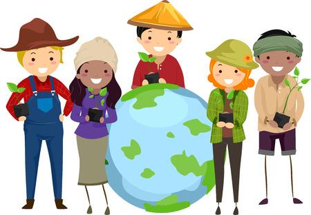 surrounding: Stickman Illustration of Farmers Surrounding a Globe