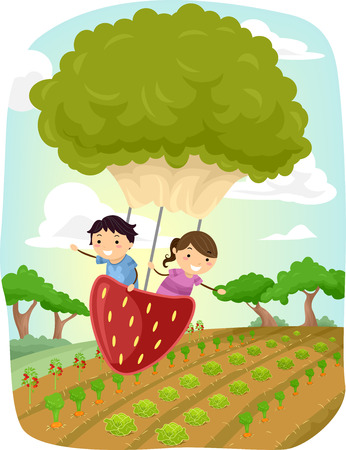 man illustration: Stickman Illustration of Kids Riding a Strawberry and Lettuce Shaped Balloon