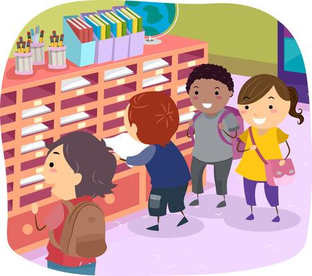 schooler: Stickman Illustration of Kids Getting Their Mails