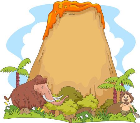 hombre prehistorico: Ilustración que ofrece una escena prehistórica