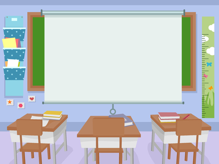 classrooms: Illustration of a Classroom with a Huge Projector Screen in Front