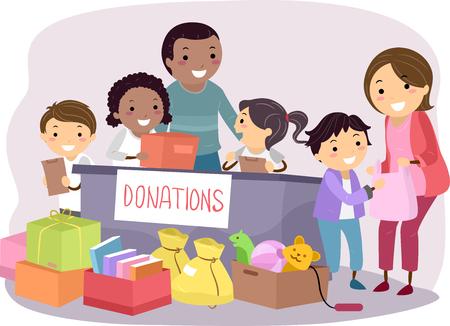 Stickman Illustration der Kinder Durchführung einer Spendenaktion Standard-Bild