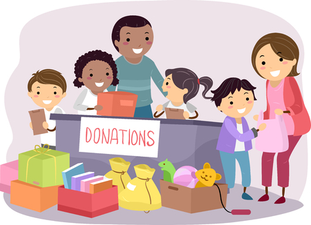 Stickman Illustration of Kids Conducting a Donation Drive Imagens