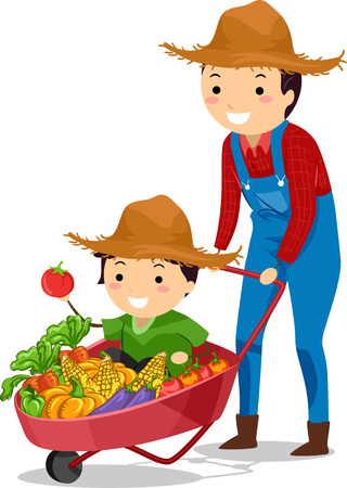 father and son: Stickman Illustration of Father and Son with Wheelbarrow Full of Harvest