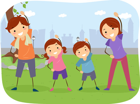 Stickman Illustration of a Family Exercising Together