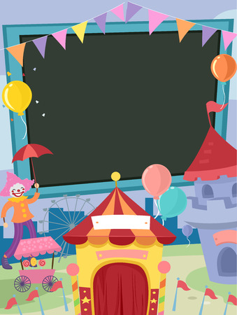 amusement park rides: Frame Illustration Featuring Carnival Related Items