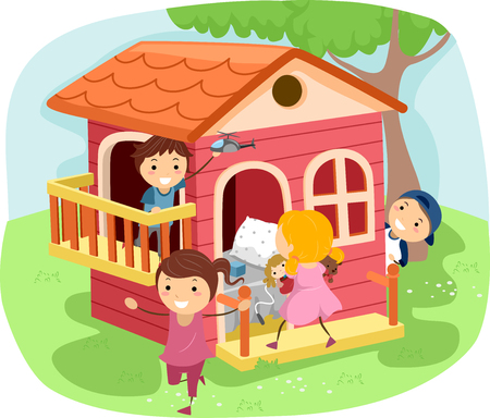 playmates: Stickman Illustration of Kids Playing House Stock Photo